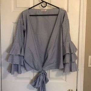 Forever 21 Tops - Blue and white stripe wrap top with ruffle sleeves